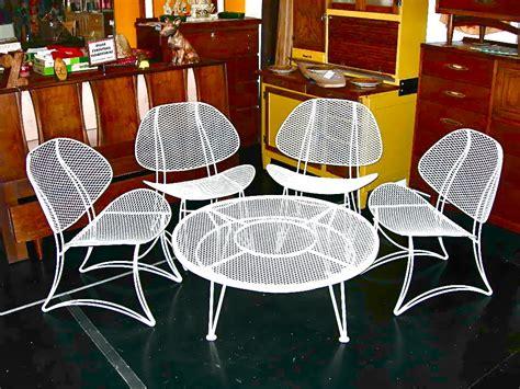 Vintage Homecrest Salterini Wrought Iron Clamshell 5 Piece Vintage Homecrest Patio Furniture