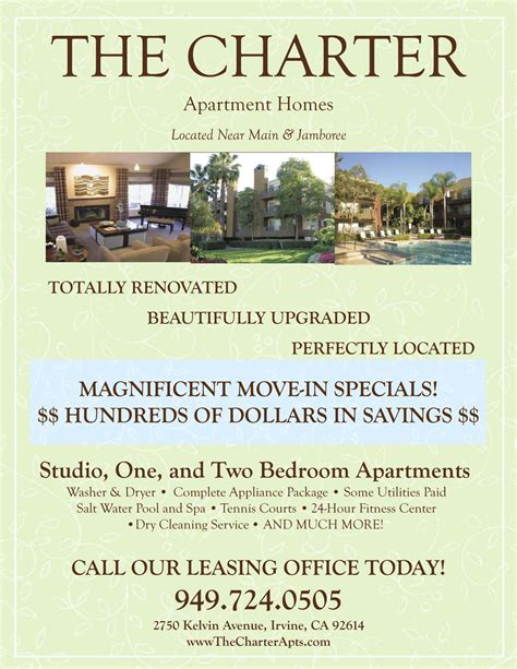 Apartment Specials Ideas Move In Specials Apartment Flyer Apartment Marketing