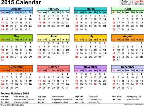 1 Year Calendar Template 2015 calendar overview of features