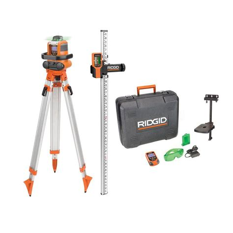 ridgid green auto leveling rotary laser level kit grl9202