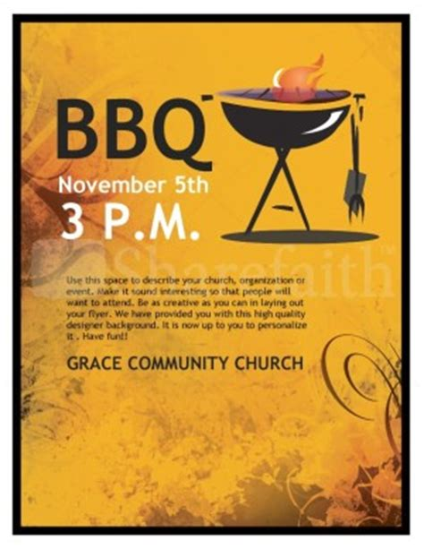 Bbq Church Flyer Template Flyer Templates Bbq Flyer Template Free