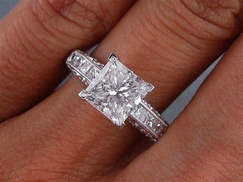 2 carat princess cut engagement rings look beautiful
