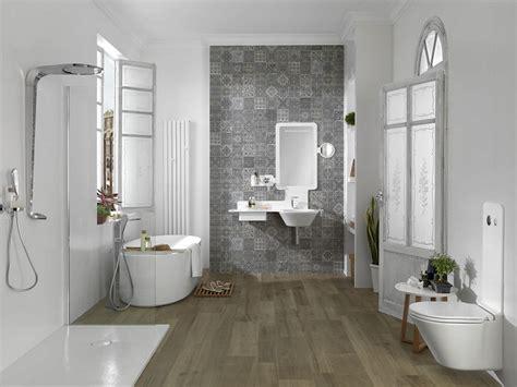 piastrelle decorate per bagno pavimento parquet tante e sorprendenti idee bagno