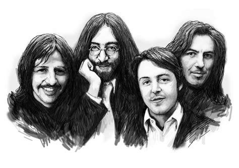 Beatles Poster Black And White