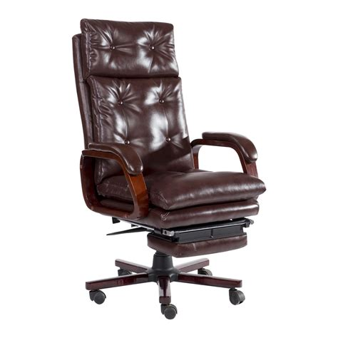 Reclining Office Desk Chair - homcom high back pu leather executive reclining office
