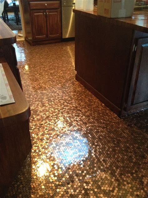 penny floor  put   kitchen  pennies covered