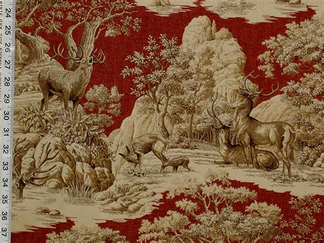 Deer Upholstery Fabric by Deer Fabric Toile Woods Nature Woodland Lodge From