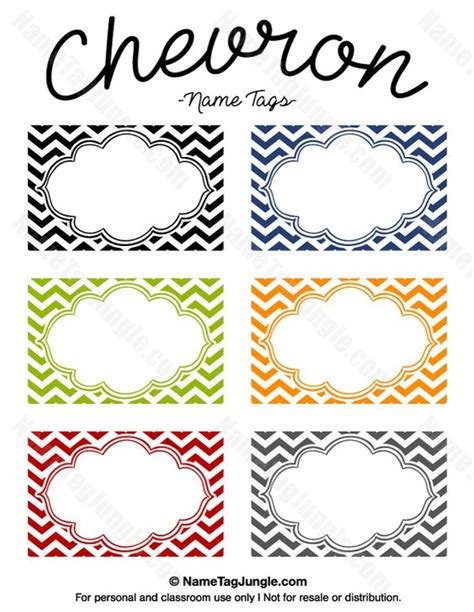 name tag labels template free printable chevron name tags the template can also be