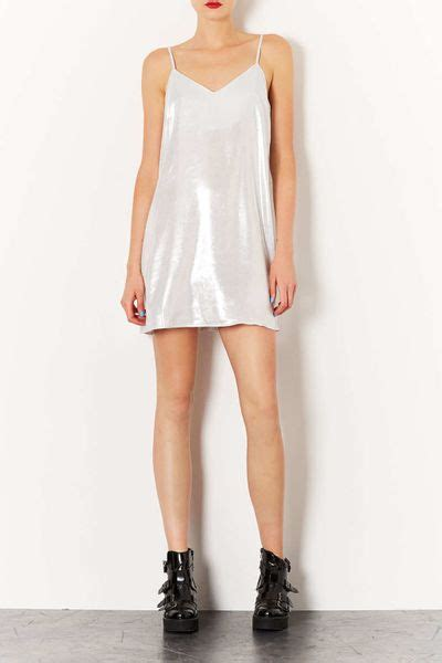 swing slip dress topshop metallic swing slip dress in silver lyst