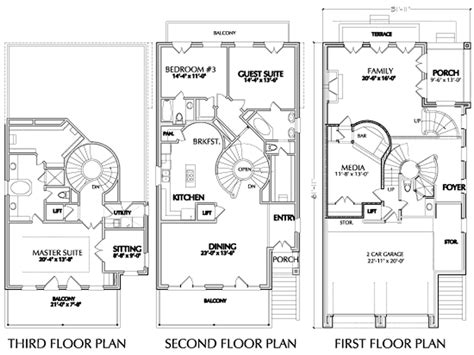 three story house plans narrow lot urban floor plan for narrow lots