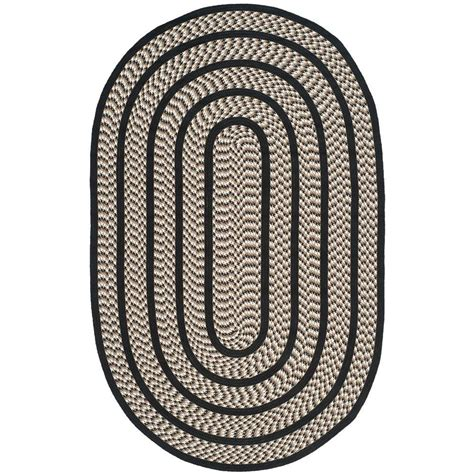 Home Depot Braided Rugs by Safavieh Braided Ivory Black 2 Ft 3 In X 8 Ft Oval Area
