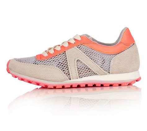 neon laces for running shoes neon coral and grey mix runners with mesh detail
