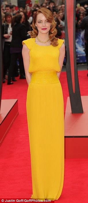 emma stone yellow emma stone wows in bright dress as she arrives at the