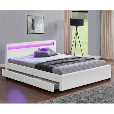 lit blanc 160x200 lit enfield blanc led et rangement tiroirs 160x200 cm