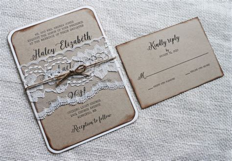 country elegance wedding invitations rustic wedding invitation vintage lace wedding