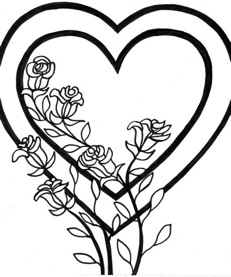 coloring pages flower rose free printable heart coloring pages for kids