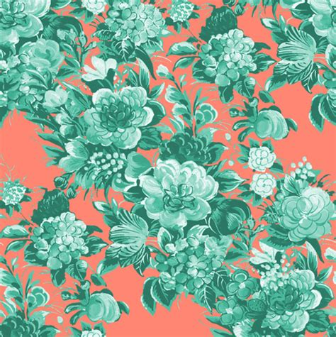 Custom Flowers Pattern 1 mid century modern floral cocktail mint and coral two tone fabric peacoquettedesigns