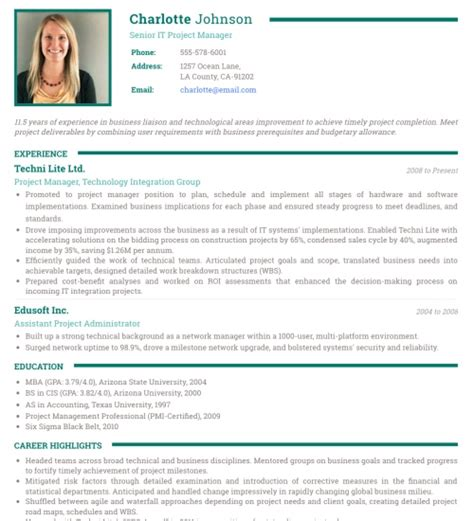 resume format with photo photo resume templates professional cv formats resumonk