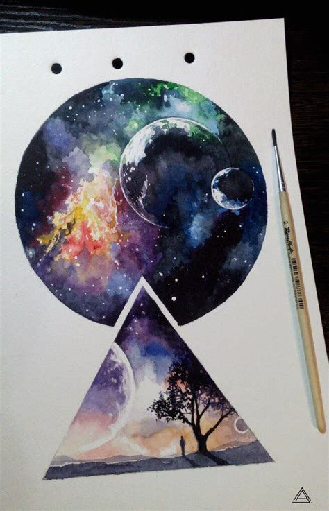 watercolor tattoo price universe cosmos geometry watercolor sketch by