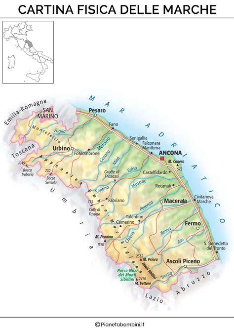 sede regione marche cartina muta fisica e politica delle marche da stare