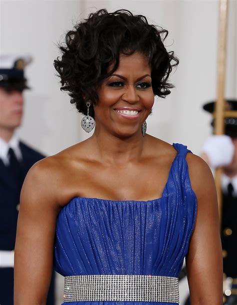 obama wife haircut michelle obama dangling diamond earrings michelle obama