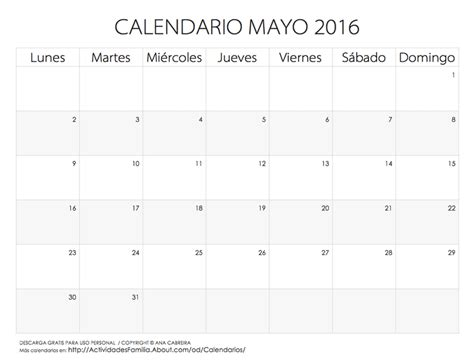 almanaque mes mayo 2016 calendarios 2016 para imprimir