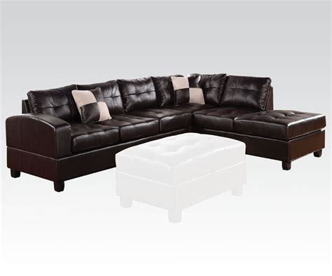acme sectional acme kiva left arm facing sectional sofa in espresso 51195