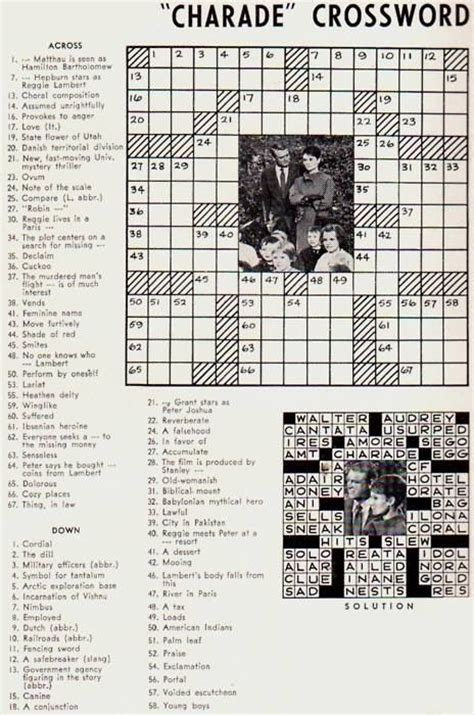 film star grant crossword clue 17 best images about charade 1963 on pinterest