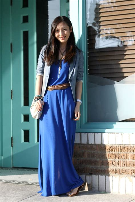 Maxi Dres And Blazer 4 28 h royal blue maxi dress denim blazer 2 chambray