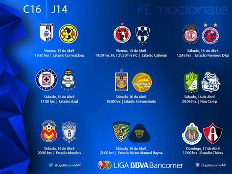 Calendario Liga Bancomer Mx Jornada 17 Fechas Y Horarios De La Jornada 14 Recta Torneo