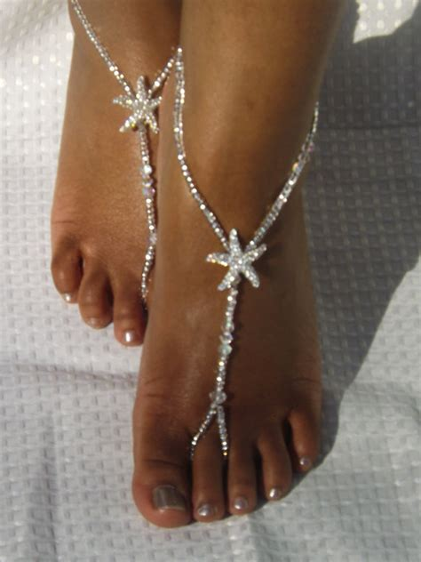 barefoot sandals flower foot jewelry by subtleexpressions