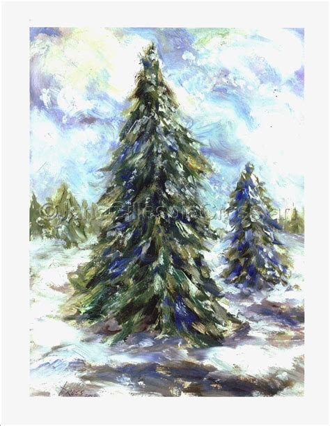 acrylic painting evergreen trees painting quot evergreens quot original by