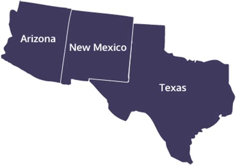 texas new mexico map map of arizona new mexico and texas my