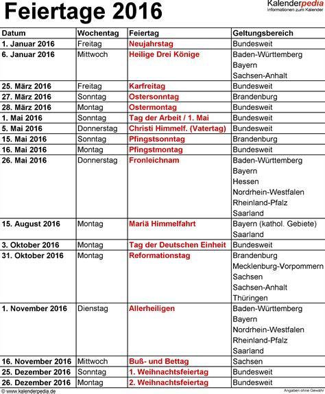 Kalender 2016 Feiertage Feiertage 2016 In Deutschland Mit Druckbaren Vorlagen