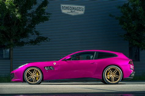purple ferrari purple ferrari gtc4lusso on gold vossen wheels has all the