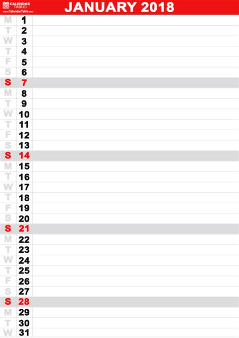 printable calendar vertical 2018 printable january 2018 calendar calendar table calendar