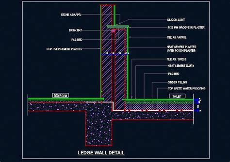 Floor Sink Detail by Toilet Ledge Wall And Floor Sectional Detail Plan N Design