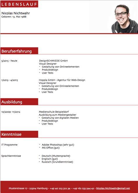 Lebenslauf Muster Kostenlos by Lebenslauf Muster 3 Rot Kostenlos Downloaden