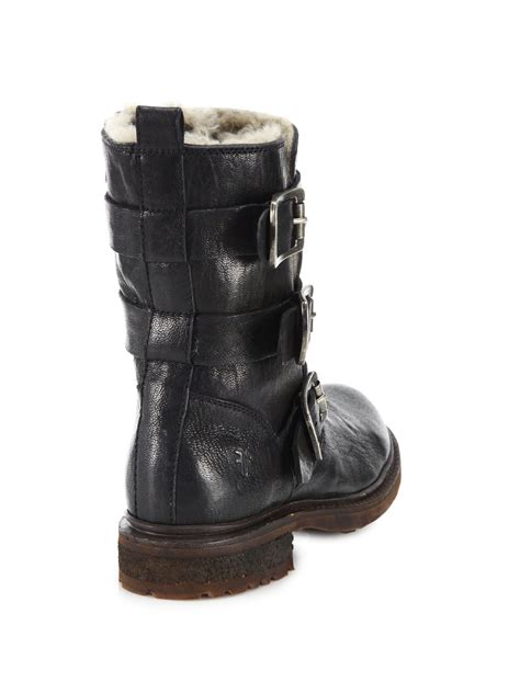 frye valerie shearling boots frye valerie leather shearling strappy moto boots in