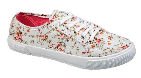 womens floral plimsoles lace up pumps plimsolls shoes