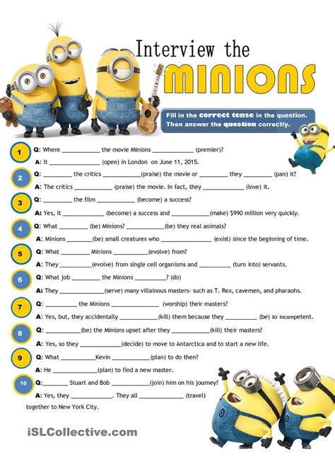 minions free printable activities and the minions review of tenses esl printable