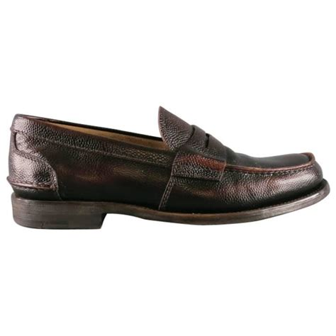prada s loafers s prada size 8 distressed brown pebbled leather