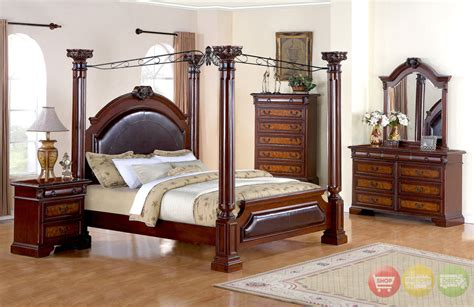 Bedroom Set With Canopy Neo Renaissance King Poster Canopy Bed Wood Bedroom