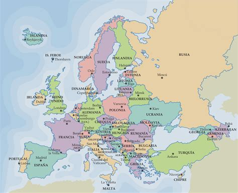 maps de europa plano de europa con ciudades mapa