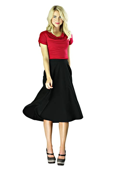 modest midi skirts in black