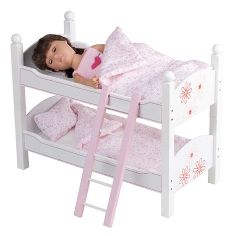 Bunk Bed For Dolls 18 Inch 18 Inch Doll Floral Bunk Bed Furniture Including Quilted Bedding And Mattresses Beds Fit 18