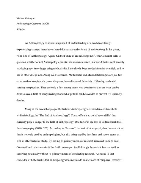 Anthropology Research Template Anthropology Paper