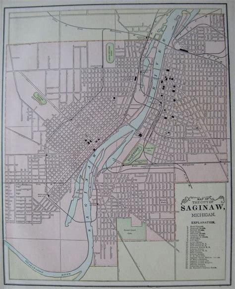 map of saginaw mi saginaw michigan antique map 1900 vintage city map