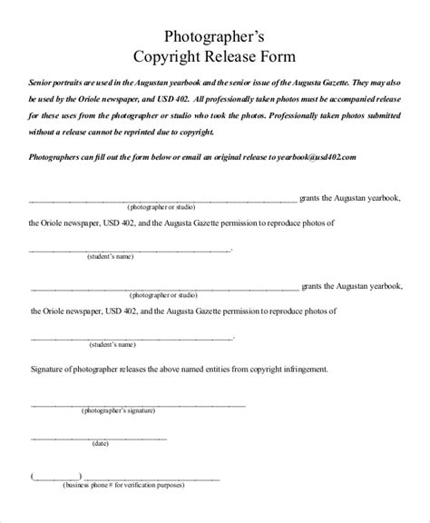 photographer copyright release form template sle photography release form 10 exles in pdf word