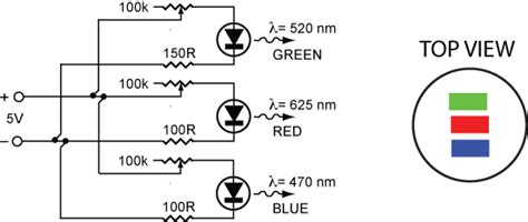 tri color led resistor physics with animations and physclips